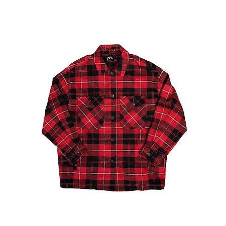 Camisa Xadrez ZARA Feminina Vermelha e Preta Flanela