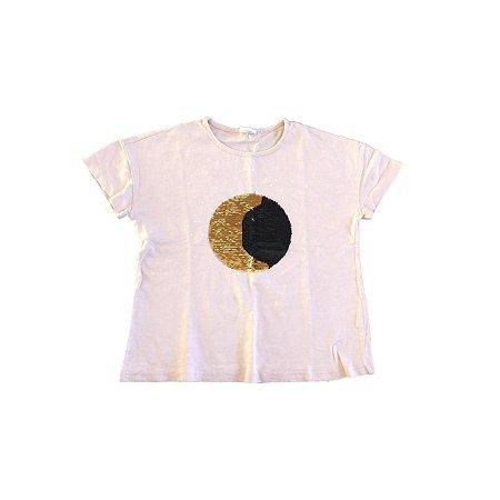 Camiseta Zara Girls Rosa com Apliques de Lantejoulas (mais usada)