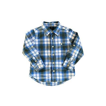 Camisa Baby Gap Xadrez Azul e Branca