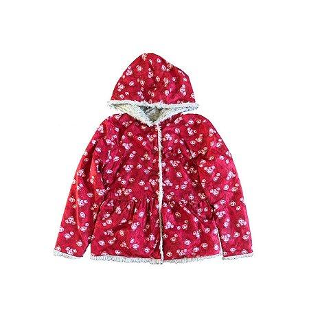 Casaco MALWEE Infantil Vermelho com Florzinhas Forrado