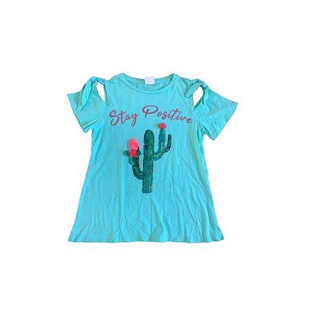 Camiseta ZARA Infantil Verde STAY POSITIVE