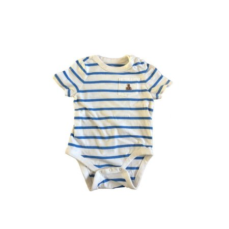 Body baby GAP Infantil Branco com Listras Azuis