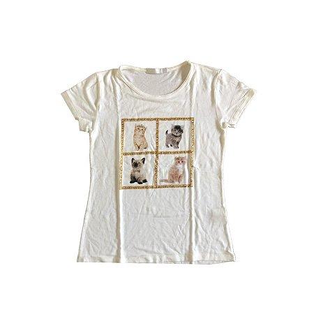 Camiseta KID`S PLACE Infantil Branca Gatinhos