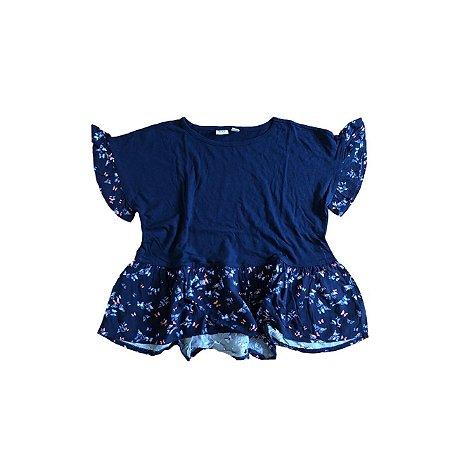 Camiseta GAP KIDS Infantil Marinho Babados Floridos
