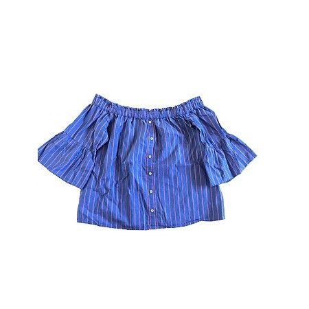 Blusa ABERCROMBIE Feminino Azul Listras Vermelhas