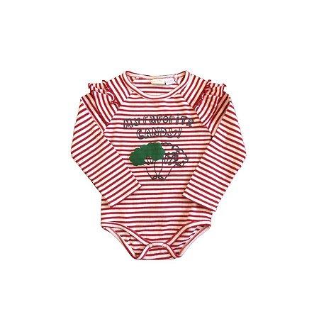 Body ZARA Infantil Listras Vermelha e Branca