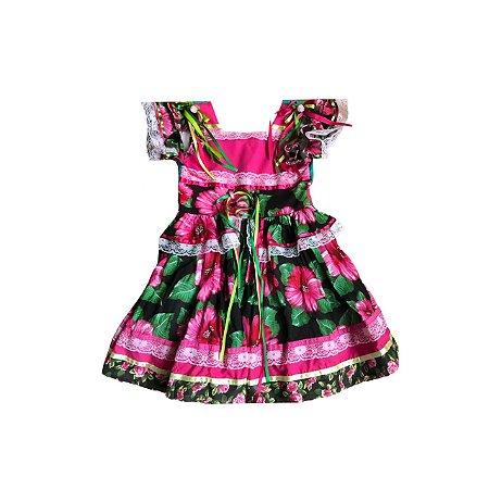 Vestido Festa Junina KOPELA Preto e Pink