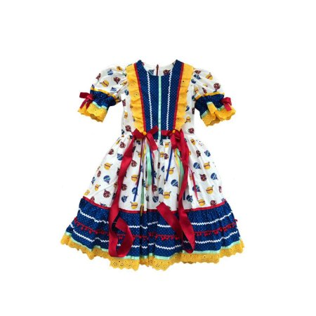 Vestido Mania D´menina Festa Junina com Tiara