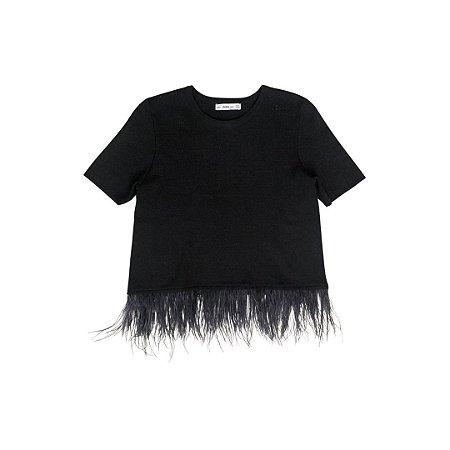 Blusa Zara Preta Lurex Tricot com Penas em Barra