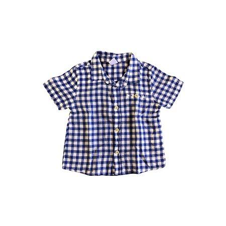 Camisa Carter's Xadrez Branca e Azul