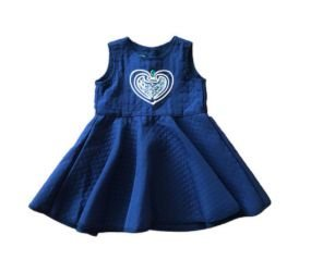 Vestido Azul Coração com Aplique 1+1