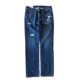 Calça Jeans Reta Escura Destroyed Abercrombie & Fitch