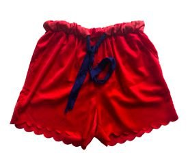 Shorts Vermelho com Cinto Azul Marinho Maria Filó
