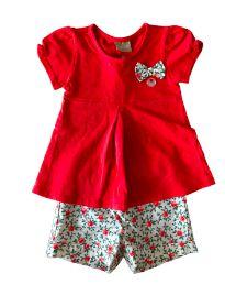 Conjunto Shorts Florido Blusa Vermelha com Laço Milon