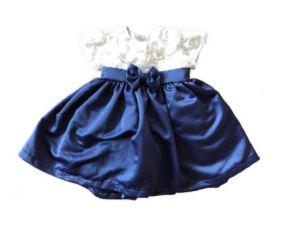 Vestido de Cetim Azul e Branco Beija Flor