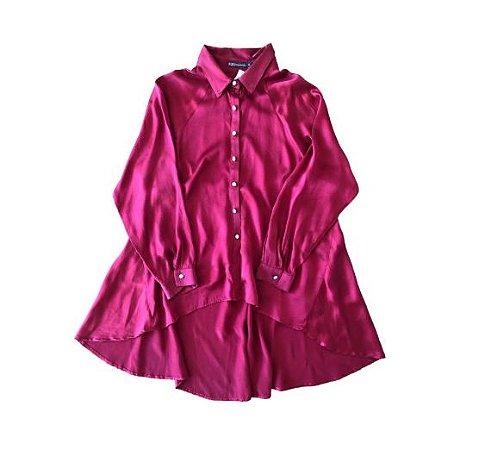 Camisa de Seda Vermelha com Decote nas Costas Bobô