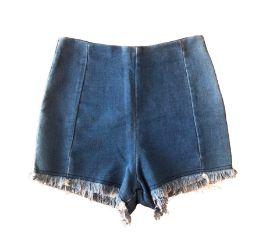 Shorts Imitando Jeans Desfiado na Barra com Elastano Mais Um