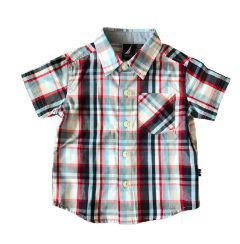 Camisa Xadrez Manga Curta Azul, Vermelha e Branca Nautica