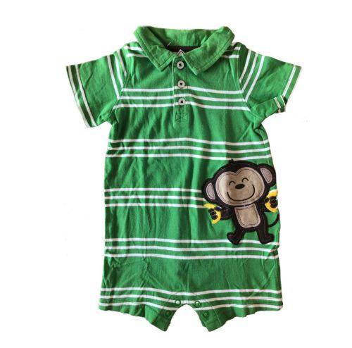 Macacão Curto Carter's Infantil Verde e Branco Macaco