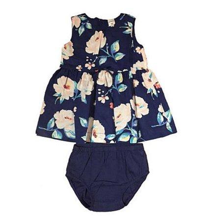 Vestido Carter's Infantil Azul Marinho Florido com Calcinha