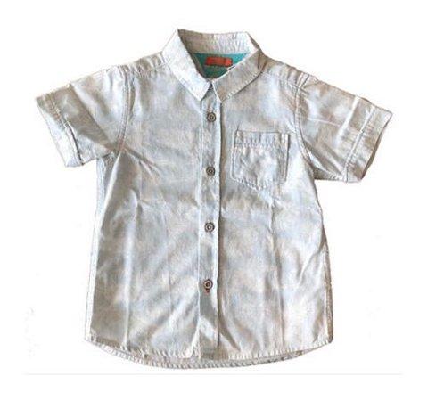 Camisa Manga Curta Azul com Folhas Brancas Chicco