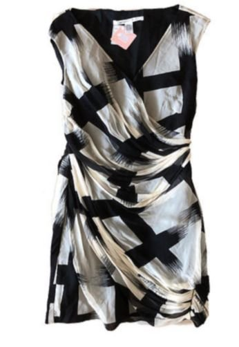 Vestido de Seda Bege e Preto Diane Von Furstenberg