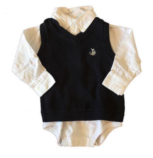 Camisa Branca e Polouver Azul Marinho Emporio Baby