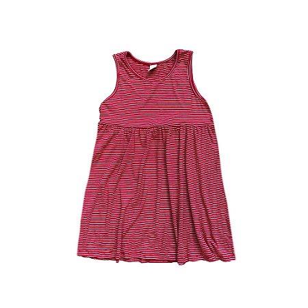 Vestido Listrado Vermelho e Branco CHK