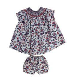 Vestido com Shorts Cinza com Flores Vermelhas e Azuis Pinni