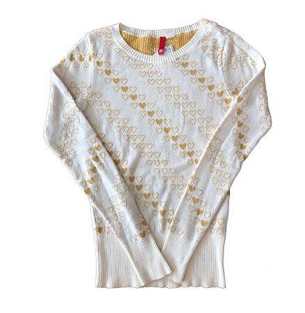 Malha Off White Dourada H&M