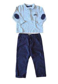 Conjunto Calça Azul  Xadrez e Polo Vertbaudet