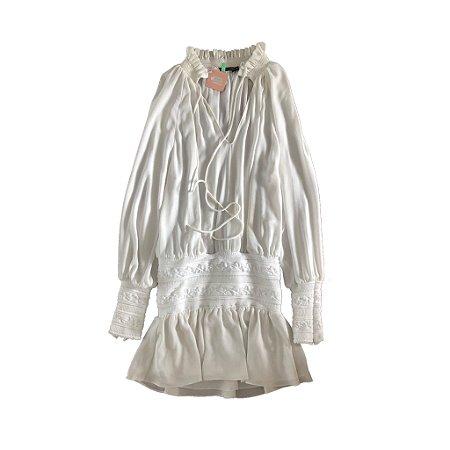 Vestido Branco com Tricot Bobô