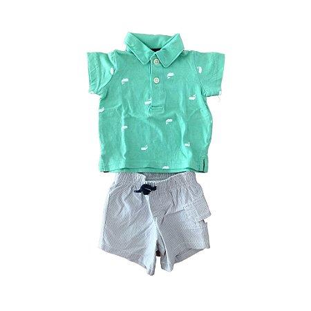 Conjunto Carter's Infantil Polo Verde e Bermuda Listrada