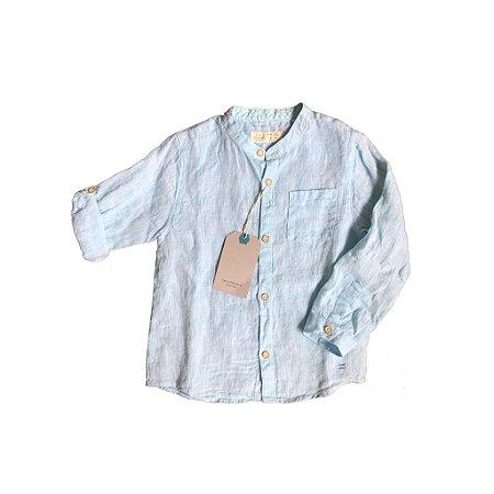 Camisa de Linha Azul Zara Baby Boy com etiqueta