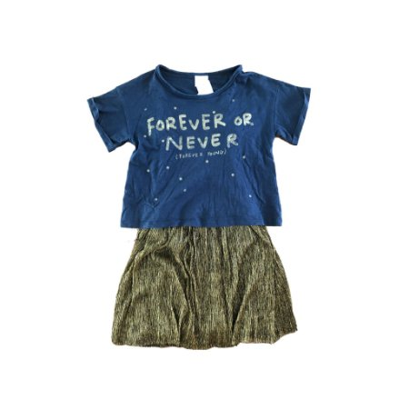 Vestido Azul com Saia Lurex Dourada Zara Girls