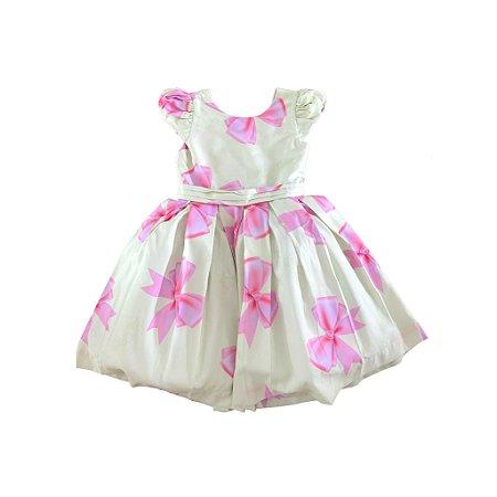 Vestido Verde Água com Laços rosa com Etiqueta Via Flora