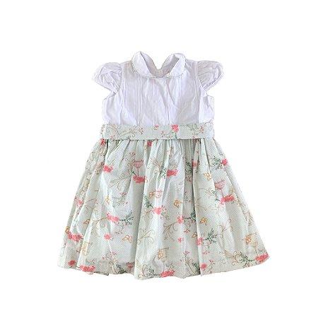 Vestido com Estampa Floral e Borboletas Leju Petit
