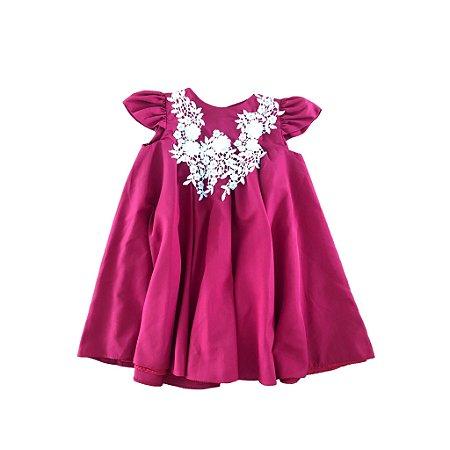 Vestido Vermelho com Aplicação de Renda Festa Via Flora
