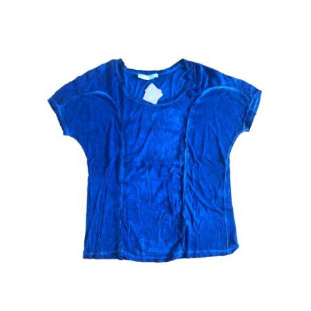 Blusa Azul Manga Curta Cris Barros