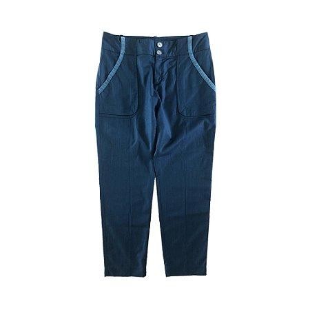 Calça Azul Marinho Reta com Bolsos Cris Barros