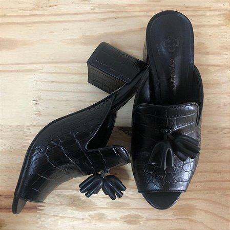 Sapato Preto Salto Bloco Abertura Frente e Atrás Capodarte