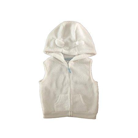 Colete Carter's Infantil Branco com Capuz de Plush
