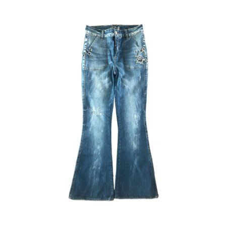 Calça Jeans Flare com Bordados Costume