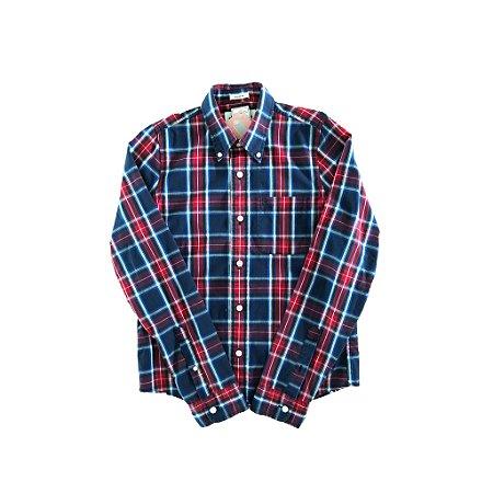Camisa Xadrez Vermelha, Azul e Branca Abercrombie & Fitch