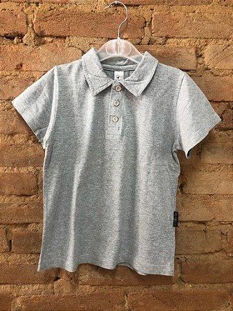 Camiseta Polo Cinza Lisa BB Básico