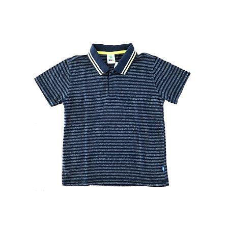 Camisa Polo Azul Listrada com Detalhe em Verde e Branco na Gola Puc