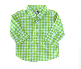Camisa Manga Longa Xadrez Verde e Branco Gap