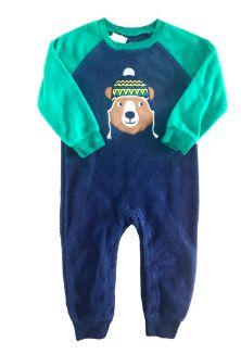 Macacão Carter's Azul e Verde Plush Urso
