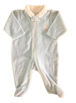Macacão Baby Cottons Listrado Azul e Branco de Plush