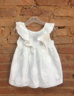 Vestido Zara Infantil Branco Babado
